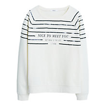 Buy Mango Printed Message Sweatshirt, Natural White Online at johnlewis.com
