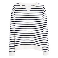 Buy Mango Striped Cotton Sweatshirt, Natural White Online at johnlewis.com
