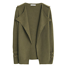 Buy Mango Cotton Blend Textured Cardigan, Khaki Online at johnlewis.com