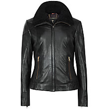 Buy Ted Baker Ciel Shearling Trim Leather Jacket, Black Online at johnlewis.com