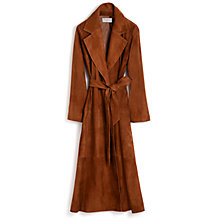 Buy Hobbs Aberglansey Suede Coat, Tan Online at johnlewis.com