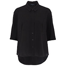 Buy French Connection Polly Plains Collared Top, Black Online at johnlewis.com