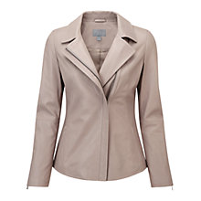 Buy Pure Collection Mallinson Leather Jacket, Grey Taupe Online at johnlewis.com