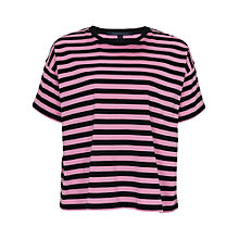 Buy French Connection Carnaby Stripe T-Shirt, Black / Atomic Pink Online at johnlewis.com