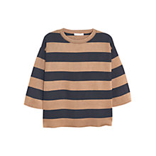 Buy Mango Striped Cotton Sweater, Medium Brown Online at johnlewis.com