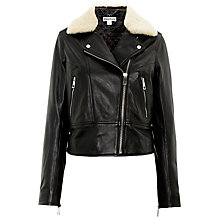 Buy Whistles Fur Collar Leather Biker Jacket, Black Online at johnlewis.com
