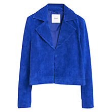 Buy Mango Suede Cropped Jacket, Bright Blue Online at johnlewis.com