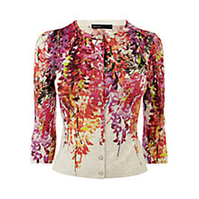Buy Karen Millen Oriental Print Knit Cardigan, Pink/Multi Online at johnlewis.com