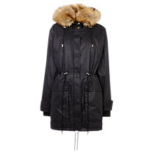 Buy Whistles Marley Waxy Parka, Black Online at johnlewis.com