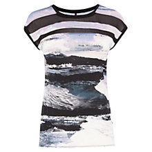 Buy Karen Millen Sheer Panel Printed T-Shirt, Multi Online at johnlewis.com