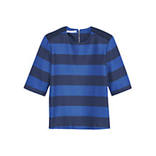 Buy Mango Striped Cotton Blouse Top, Bright Blue Online at johnlewis.com