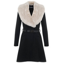 Buy Miss Selfridge Faux Fur Collar Belted Coat, Black Online at johnlewis.com