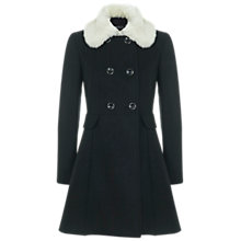 Buy Miss Selfridge Fur Trim Collar Coat, Black Online at johnlewis.com