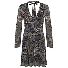 Buy Miss Selfridge Flared Floral Tie Neck Dress, Black/Multi Online at johnlewis.com