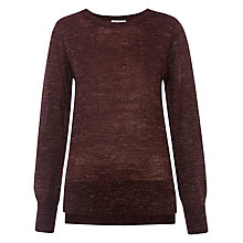 Buy Whistles Split Hem Jumper, Burgundy Online at johnlewis.com