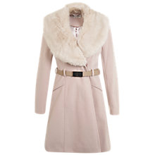 Buy Miss Selfridge Faux Fur Collar Coat, Nude Online at johnlewis.com