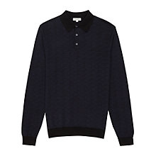 Buy Reiss Marylebone Pattern Long Sleeve Polo Shirt, Navy/Black Online at johnlewis.com