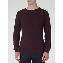 Buy Reiss Saber Textured Knit Jumper, Bordeaux Online at johnlewis.com