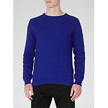 Buy Reiss Saber Textured Knit Jumper, Bright Blue Online at johnlewis.com