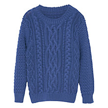 Buy Mango Kids Boys' Cable Knit Jumper, Medium Blue Online at johnlewis.com