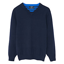 Buy Mango Kids Boys' V-Neck Cotton Jumper, Navy Online at johnlewis.com