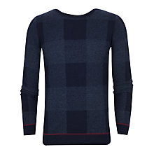 Buy Ted Baker Lowgan Check Crew Neck Jumper, Blue Online at johnlewis.com