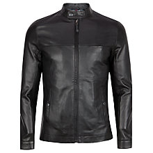 Buy Ted Baker Lapeer Leather Biker Jacket, Black Online at johnlewis.com