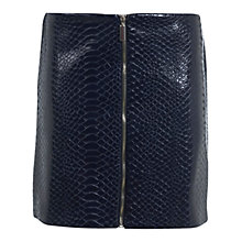 Buy Miss Selfridge Croc Pu Mini Skirt, Dark Blue Online at johnlewis.com