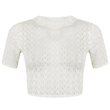 Buy Miss Selfridge Petite Crop Lace Top, Ivory Online at johnlewis.com