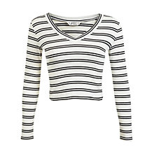 Buy Miss Selfridge Petite V-Neck Striped Jumper, Cream Online at johnlewis.com