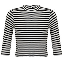 Buy Miss Selfridge Petite Stripe Jersey Top, Cream/Black Online at johnlewis.com