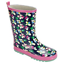 Buy John Lewis Children's Floral Print Wellington Boots, Purple Online at johnlewis.com