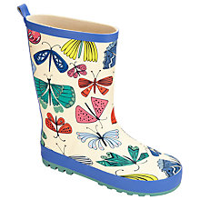 Buy John Lewis Children's Butterfly Print Wellington Boots, Blue Online at johnlewis.com