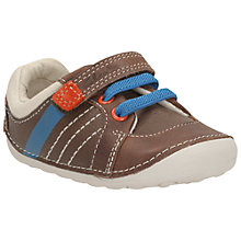 Buy Clarks Tiny Myle Rip-Tape Shoes, Brown Online at johnlewis.com