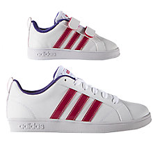 Buy Adidas Children's Advantage VS Sports Shoes, White/Pink Online at johnlewis.com