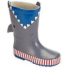 Buy John Lewis 3D Shark Wellington Boots, Grey/Blue Online at johnlewis.com