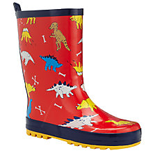 Buy John Lewis Children's Dinosaur Volcano Wellington Boots, Red Online at johnlewis.com