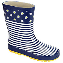 Buy John Lewis Daisy Stripe Wellington Boots, Navy/White Online at johnlewis.com
