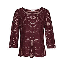 Buy Reiss Alden Sheer Lace Top, Claret Online at johnlewis.com