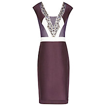 Buy Reiss Embellished Pencil Dress, Berry/Deep Amet Online at johnlewis.com