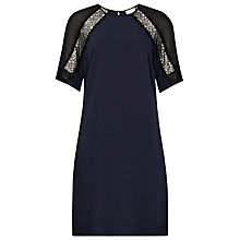 Buy Reiss Karlotta Contrast Lace Shift Dress, Black/Navy Online at johnlewis.com
