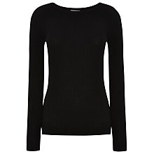 Buy Whistles Irina Rib Slim Jumper, Black Online at johnlewis.com