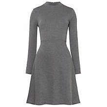 Buy Whistles Pinstripe Flippy Jersey Dress, Grey Marl Online at johnlewis.com