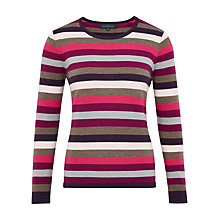 Buy Viyella Stripe Merino Jumper, Purple Online at johnlewis.com