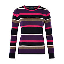Buy Viyella Petite Striped Pure Merino Jumper, Multi/Purple Online at johnlewis.com