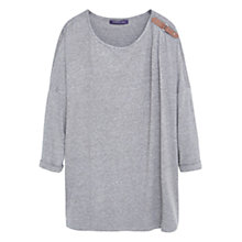 Buy Violeta by Mango Tab Detail T-Shirt, Grey Online at johnlewis.com