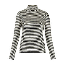 Buy Whistles Ribbed High Neck Top, Black/Multi Online at johnlewis.com