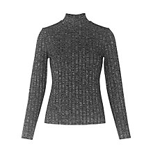 Buy Whistles Ribbed Roll Neck Top, Grey Online at johnlewis.com