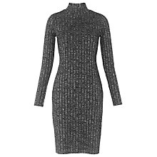 Buy Whistles Ribbed Roll Neck Dress, Grey Marl Online at johnlewis.com