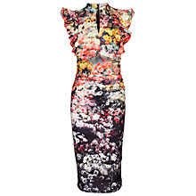 Buy Jolie Moi Floral Print Frill Dress, Black Online at johnlewis.com